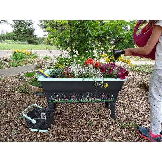 Calipso Jardinière sur pied pour enfant 40 litres gris et vert tilleul