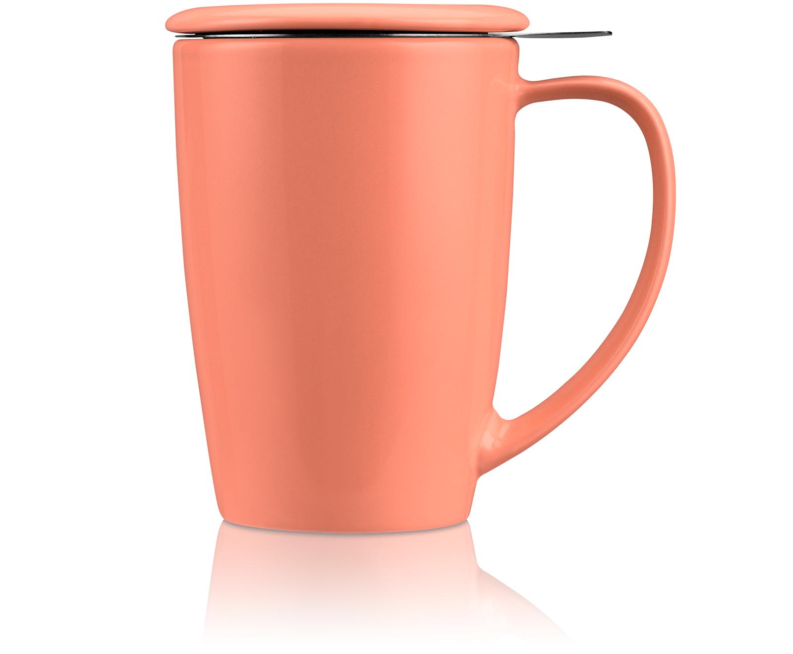 KUSMI TEA Mug Tisanière Curve en céramique avec filtre et couvercle