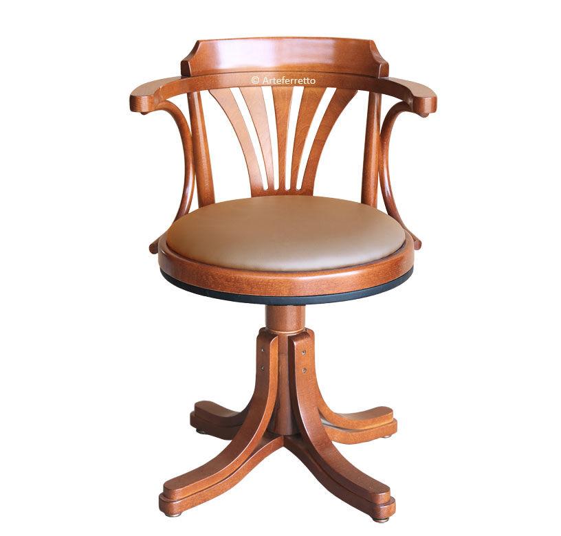 Artigiani veneti riuniti Fauteuil tournant assise en cuir