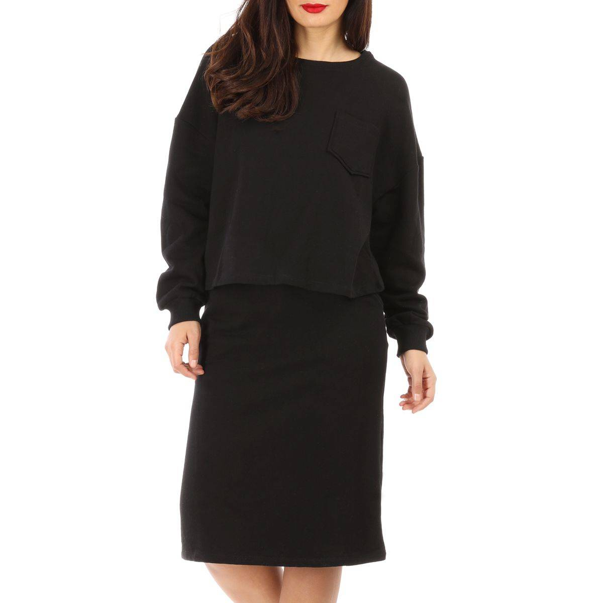 La Modeuse Ensemble jupe sweat noir