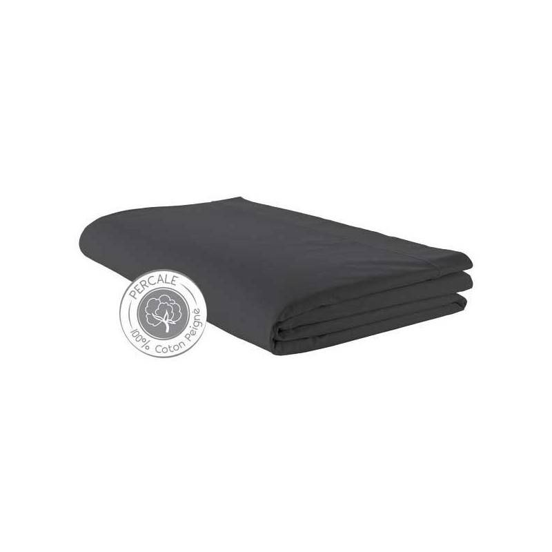 Drap plat Percale Tradilinge Anthracite (Dimension : 180X290cm (1 personne), Couleur : ANTHRACITE)