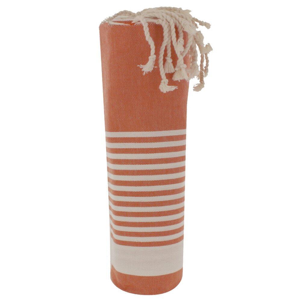 Les Poulettes Bijoux Fouta Drap Plage et Hammam Coton Orange Rayé Blanc 100 x 200cm