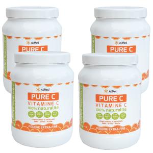 Pure Vitamine C pure en poudre d'origine végétale - Qualité Supérieure - Pack 4 x 1kg