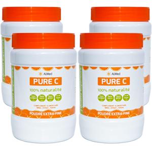 Pure Vitamine C pure en poudre d'origine végétale - Qualité Supérieure - 4 x 500 gr