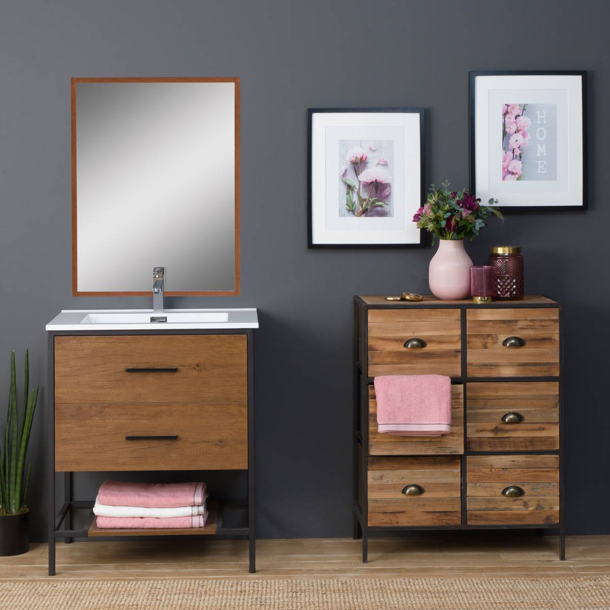 madeinmeubles Commode industrielle 6 tiroirs poignées coquille