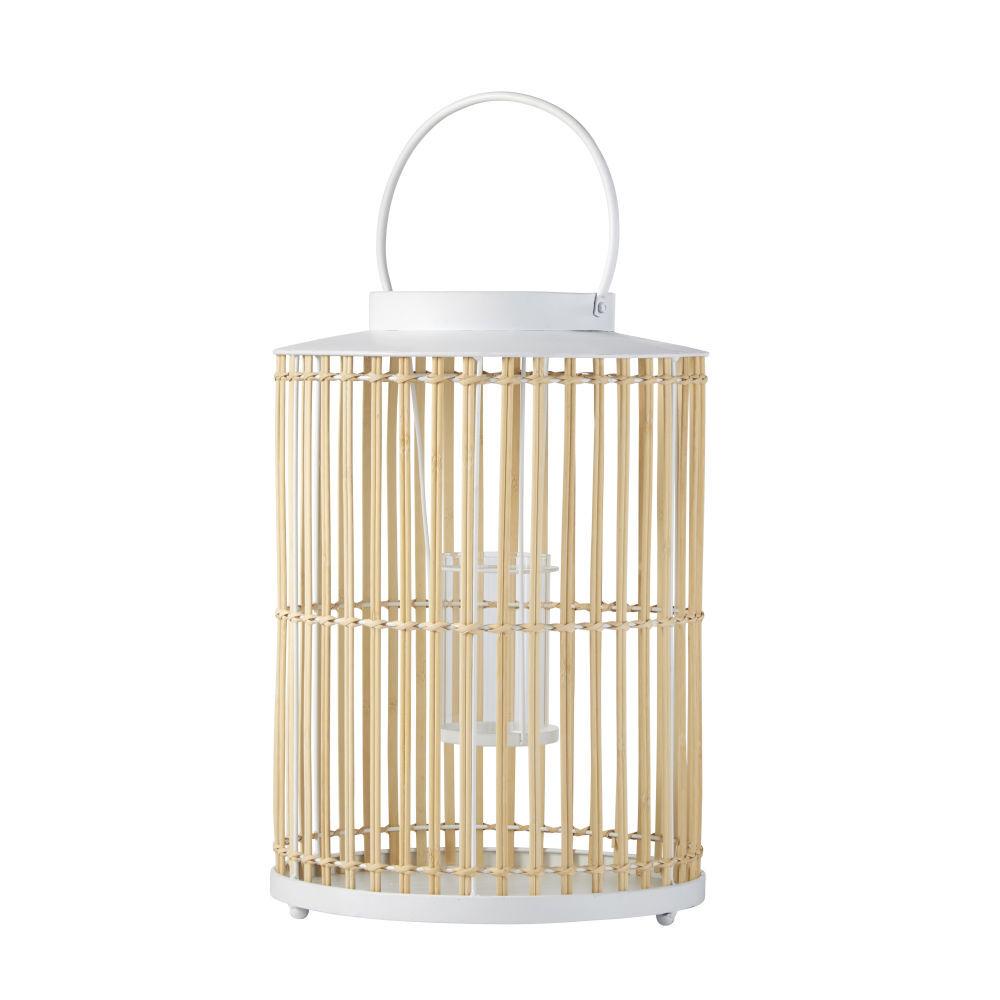 Maisons du Monde Lanterne en bambou beige et métal blanc H50