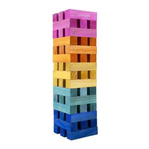 Sunnylife Mega jumbling tower arc-en-ciel en bois de pin naturel