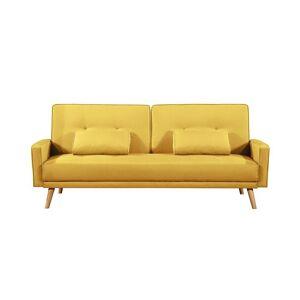 Usinestreet Canapé droit convertible style scandinave en tissu jaune