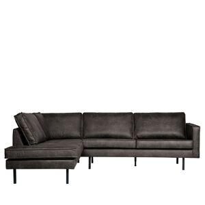 Bepurehome Canapé d'angle gauche vintage noir