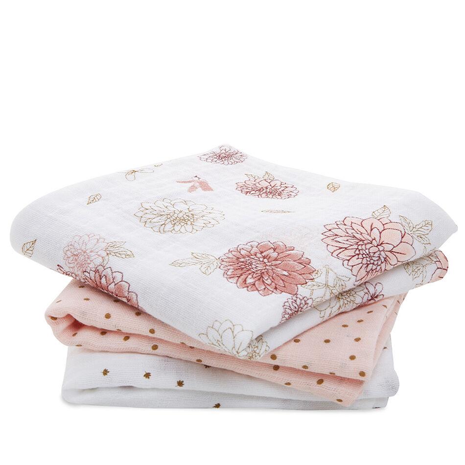 ADEN+ANAIS Lot de 3 petits Langes en mousseline de coton Dahlias - ADEN+ANAIS