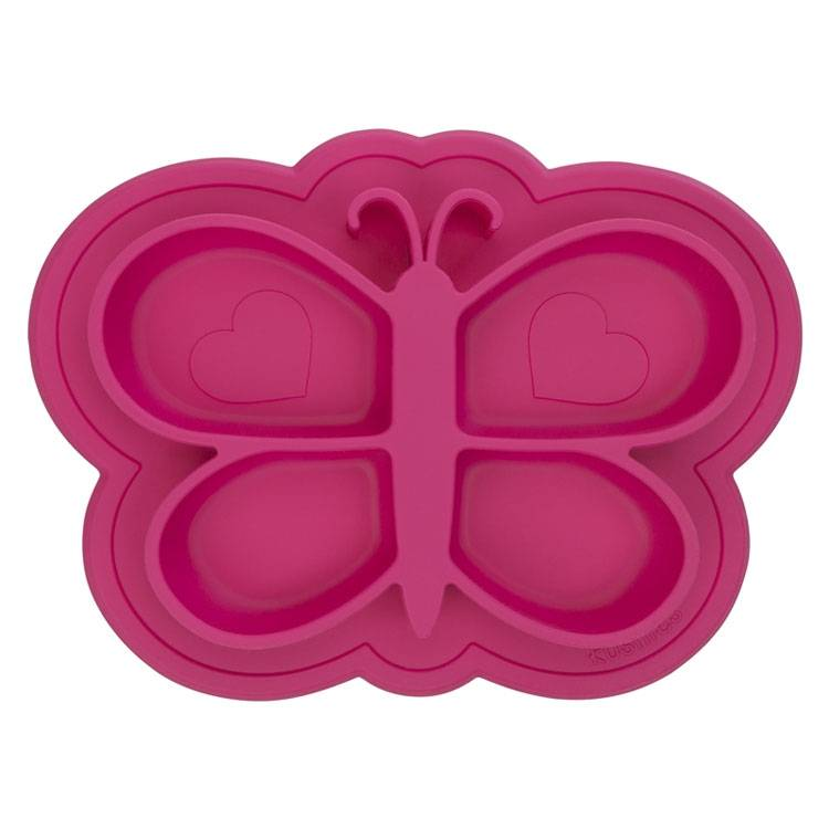 KUSHIES Assiette en Silicone modèle Papillon Rose - KUSHIES