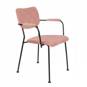 Zuiver BENSON - Chaise accoudoirs velours rose Rose
