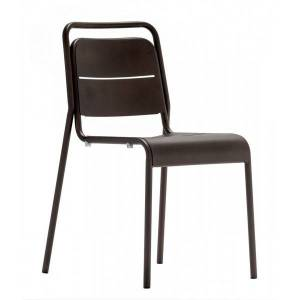 MATHI DESIGN MALAGA - Chaise de terrasse acier bronze Gris