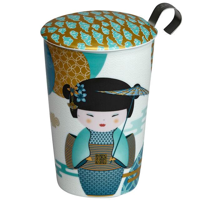 Eigenart Tisanière New Little Geisha Bleu Pétrol porcelaine double paroi avec filtre - 35 cl