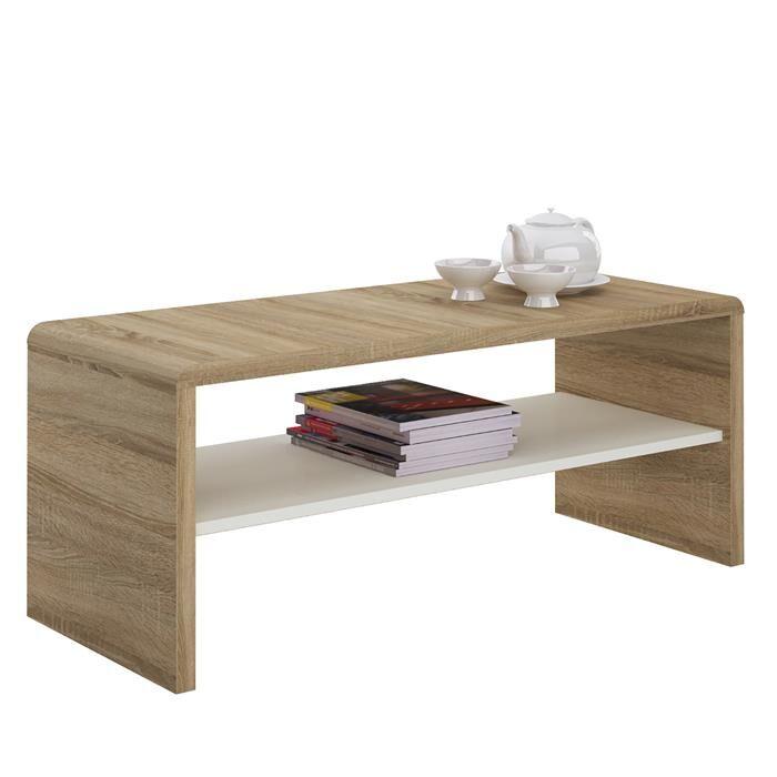 IDIMEX Table basse / Meuble TV LOUNA, en mélaminé décor chêne sonoma et blanc mat
