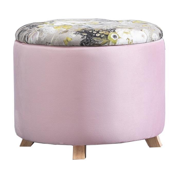 IDIMEX Tabouret de rangement BONITO avec motifs fleurs, en velours rose