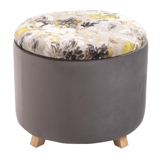 IDIMEX Tabouret de rangement BONITO avec motifs fleurs, en velours gris