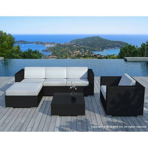 Delorm Design Salon de jardin en résine tressée noir et blanc - 5 places - COPACABANA