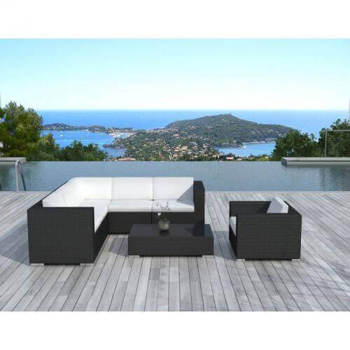 Delorm Design Salon de jardin d'angle en résine tressée - noir et blanc - 6 places - MUNDAKA