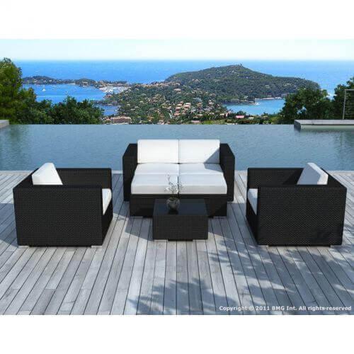 Delorm Design Salon de jardin en résine tressée - noir et blanc- 6 places - PAUSA