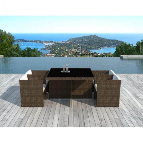 Delorm Design Salon de jardin Lima 4 places en résine tressée chocolat et blanc