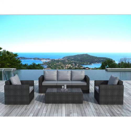 Delorm Design Salon de jardin en résine tressée noir et gris- 5 places - NAPOLI