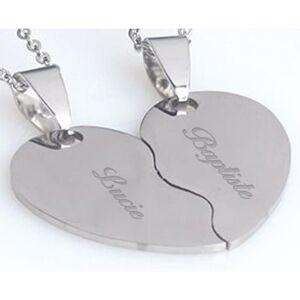 Duo collier coeur séparable gravé