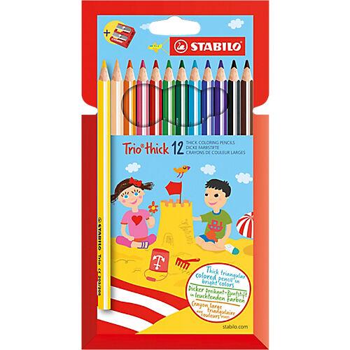 STABILO Crayons de couleur STABILO Pastelli Trio Maxi Assortiment - 12 Unités