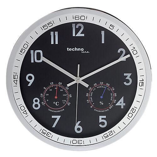 TechnoLine Horloge Murale à Quartz TechnoLine WT7981 30 x 5 cm Noir