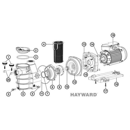 Hayward N°4 - Panier de préfiltre de pompe Hayward Max Flo (avant 1994)