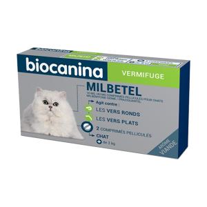BIOCANINA Vermifuge – Milbetel 16 mg/40 mg pour Chats, 2 comprimés pelliculés