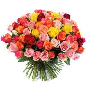 Roses d'Antibes FEU D'ARTIFICE Bouquet de 100 roses multicolores