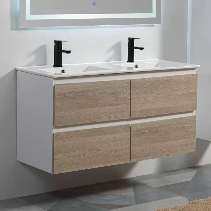 Rue Du Bain Meuble de salle de bain 4 Tiroirs - Blanc et Chêne Gris - Double vasque - 120x46 cm - Scandinave