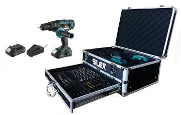 Silex France ® Coffret Perceuse visseuse 20V avec 2 batteries Li-Ion 2 Ah Silex®