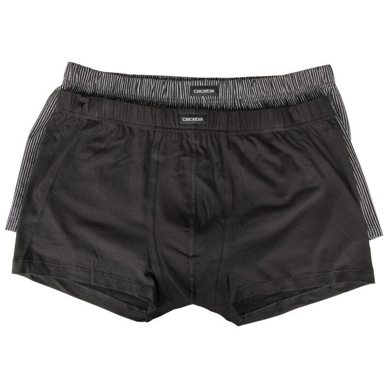 Ceceba Lot de 2 boxers Ceceba grande taille uni et rayures noir;