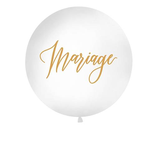Party Deco Ballon Geant Mariage Blanc et Or 1 m