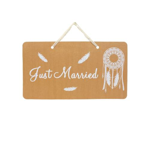 Artifêtes Pancarte Kraft Just Married Boho naturel