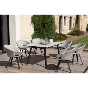 SO INSIDE Salon de jardin avec Table en carreaux de ciment & 6 Fauteuils en rotin synthétique gris Marrakech