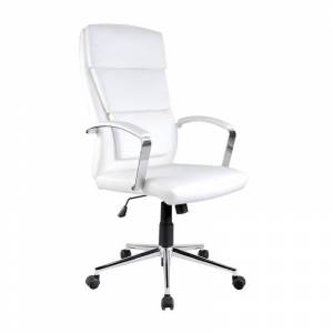 SO INSIDE Fauteuil de bureau en simili cuir blanc Aurelia