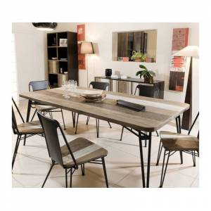 SO INSIDE Table à manger bois massif et métal 200x100cm Alice