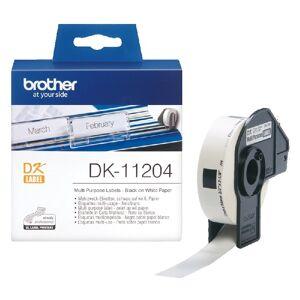 Brother Rouleau d'étiquettes DK-11204 Brother original – Noir sur blanc, 17 x 54 mm pour QL500