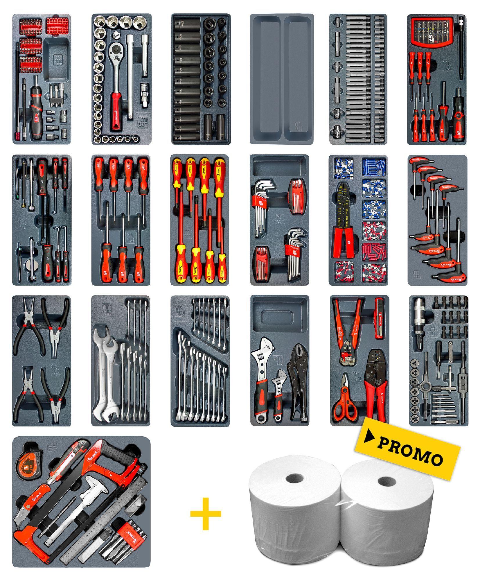 Mw-tools Set complet de 622 outils pour servante d'atelier MW-Tools TSMW500GW