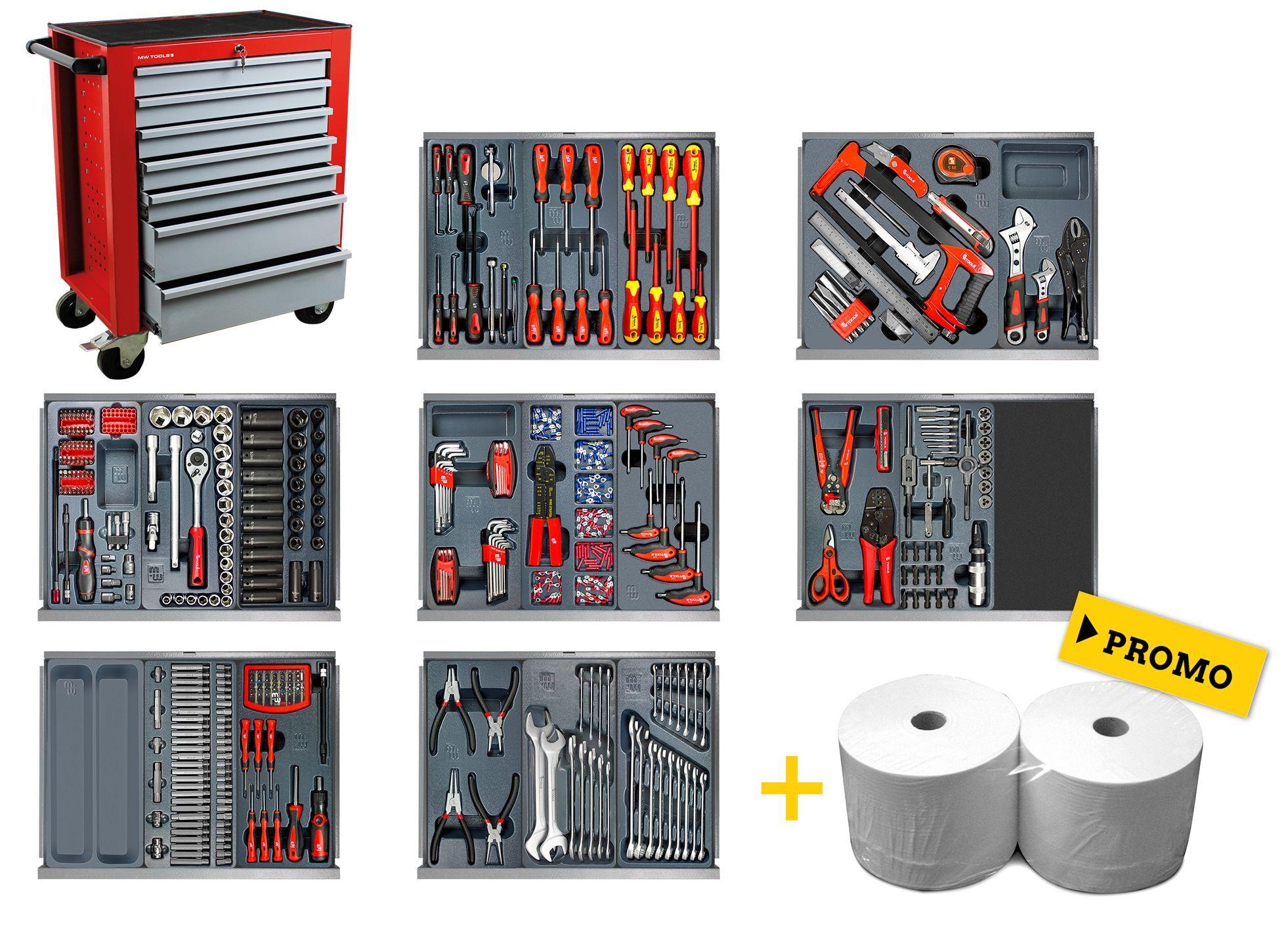Mw-tools Servante d'atelier complète 622 outils MW-Tools MW500GW