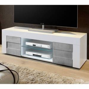 Tousmesmeubles Meuble TV 2 portes 138 cm Blanc/Béton - TRANI - L 138 x l 42 x H 44