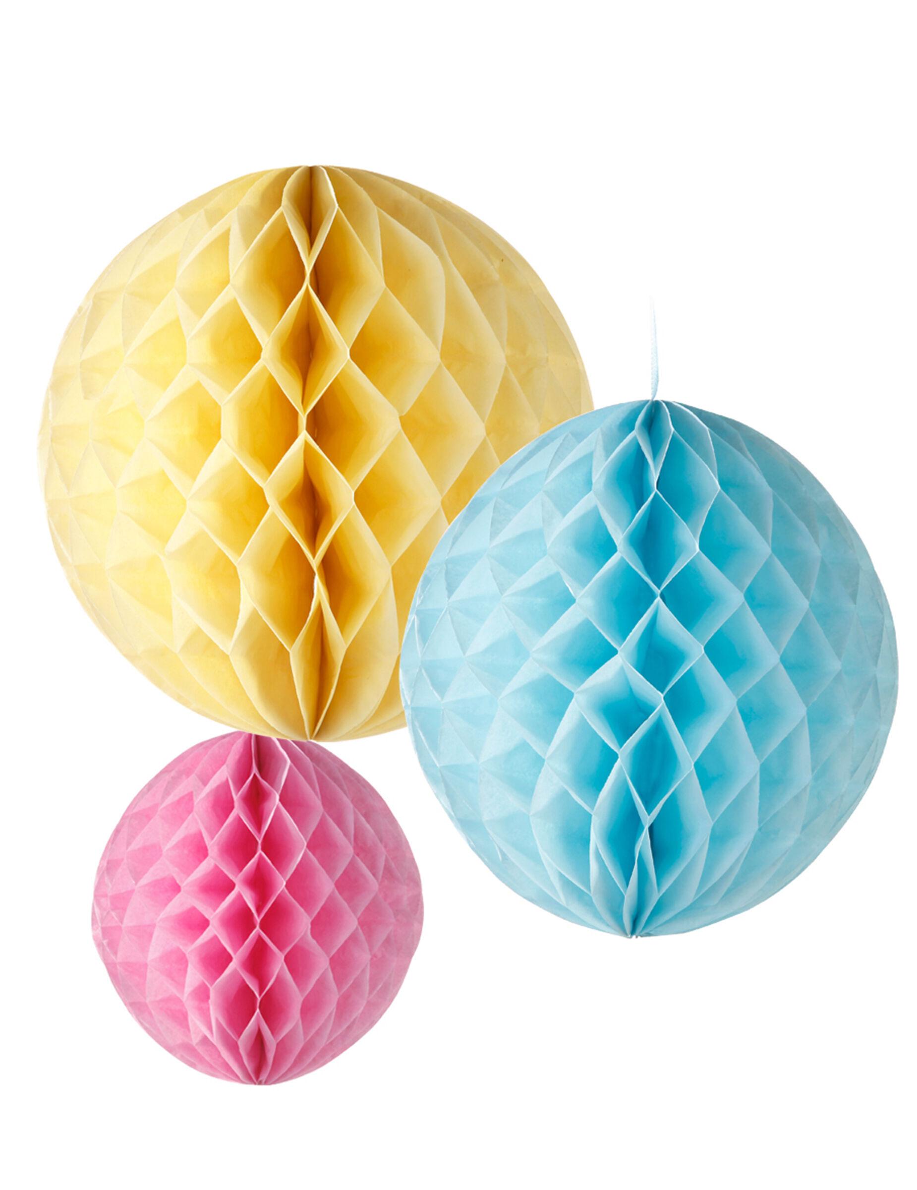 VegaooParty 3 Suspensions boules papier jaune, bleu et rose