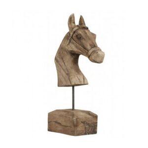 Light & Living Statue Déco à Poser en Bois Sculpté Cheval