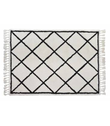 Wadiga Grand Tapis Style Berbère Polyester Noir et Blanc Crème - 160x230cm
