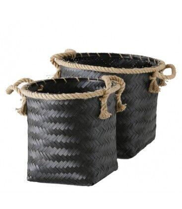 Wadiga Set de 2 Paniers Tressés en Bambou Noir et Corde