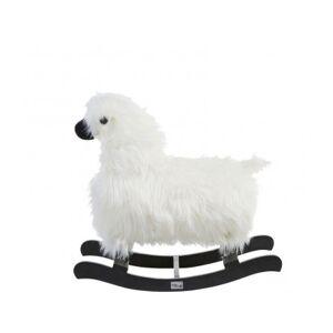 CHILDHOME Mouton à Bascule Blanc et Teck Noir