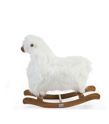 CHILDHOME Mouton à Bascule Blanc et Teck Marron